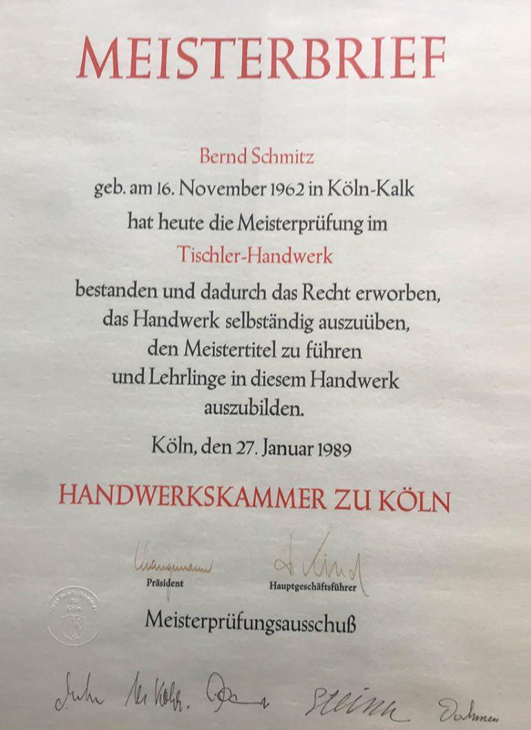 Meisterbrief Küchenstudio Schmitz mit Eintragung in Handelskammer