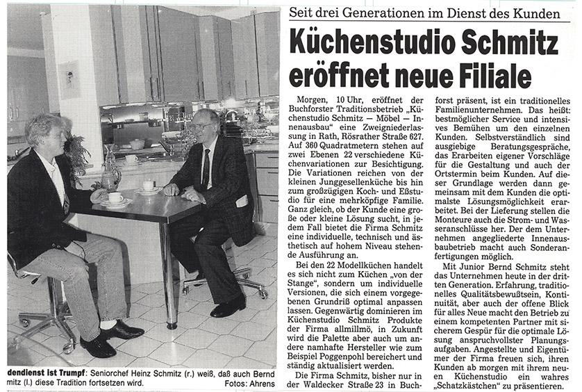 Pressemeldung zur Eröffnung einer neuen Filiale von Küchenstudio Schmitz